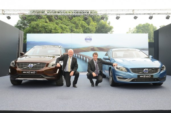 L2R- H.E. Mr. Harald Sandberg, The Ambassor of Sweden and Mr. Tomas Ernberg, MD, Volvo Auto India launching the new generation Volvo S60 & XC60