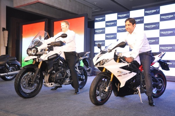 Triumph launches in India with 10 motorcycles. Seen here from LtoR- Paul Stroud, Director Sales & Marketing (Global) & Vimal Sumbly, Managing Director, Triumph India