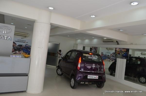 driving the Nano inside the showroom