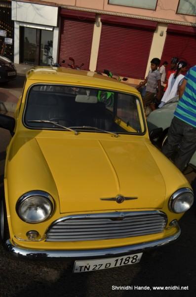yellow morris minor front