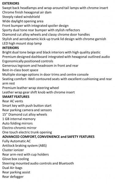 Hyundai Xcent features