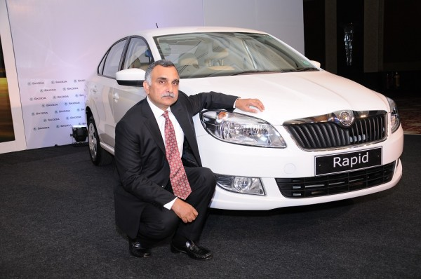 01 Mr. Sudhir Rao, Chairman and Managing Director - SKODA Auto India launching the SKODA Rapid with 7 Speed Automatic DSG Transmission