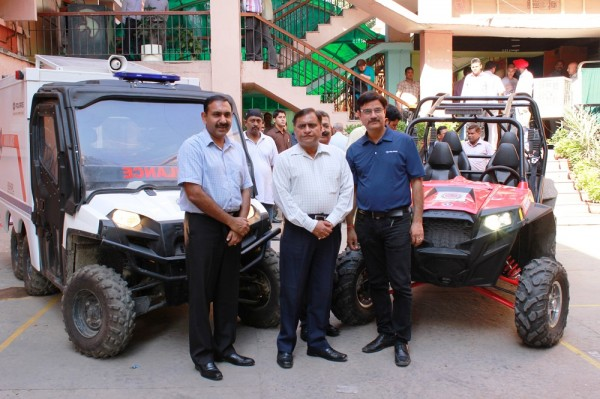 Left to Right--Mr Sandeep Singh Rathore (IG Police ),Mr O.P.Singh DG( NDRF) Mr.Pankaj Dubey MD Polaris India Pvt Ltd (2)