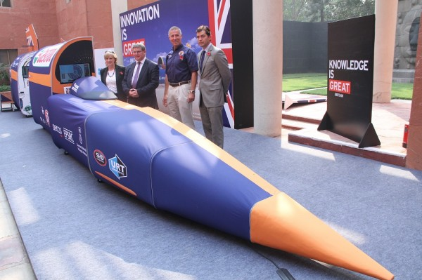 From L to R: Gill Caldicott, Director Operations, British Council India; Iain Gray, Chief Executive Officer of the UK's Innovation agency- Innovate UK; Wing Commander Andy Green, BLOODHOUND SSC Pilot and Richard Everitt, Director Education, British Council India unveiling the BLOODHOUND SSC Show Car in New Delhi