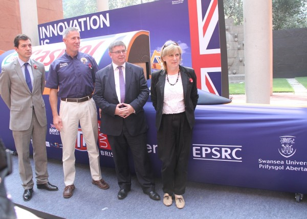 From L to R: Richard Everitt, Director Education, British Council India; Wing Commander Andy Green, BLOODHOUND SSC Pilot; Iain Gray, Chief Executive Officer of the UK's Innovation agency- Innovate UK; and Gill Caldicott, Director Operations, British Council India