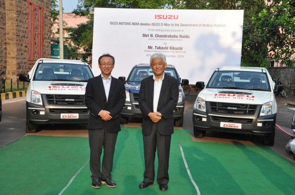 Mr. Takashi Kikuchi, MD and Mr. Shigeru Wakabayashi, DMD, Isuzu Motors India with D-Max vehicles