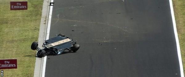 Turned over SFI car of Perez