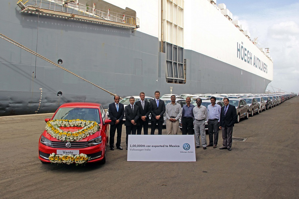 Volkswagen India ships 1,00,000th car to Mexico-a red Vento