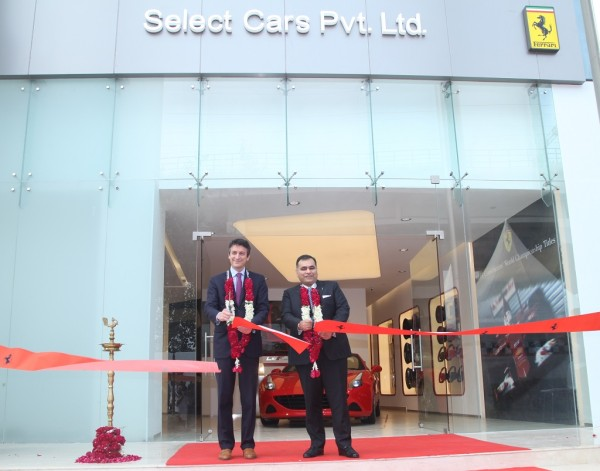 Enrico Galliera, Sr VP Commercial & Marketing, Ferrari SpA withYadur Kapur, Director, Select Cars Pvt. Ltd. at Ferrari showroom launch