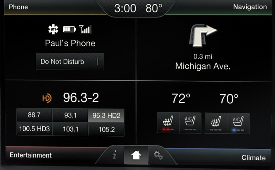 New Ford Mustang centre screen