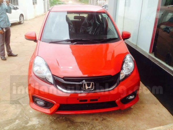Honda Brio Facelift spotted at dealership front
