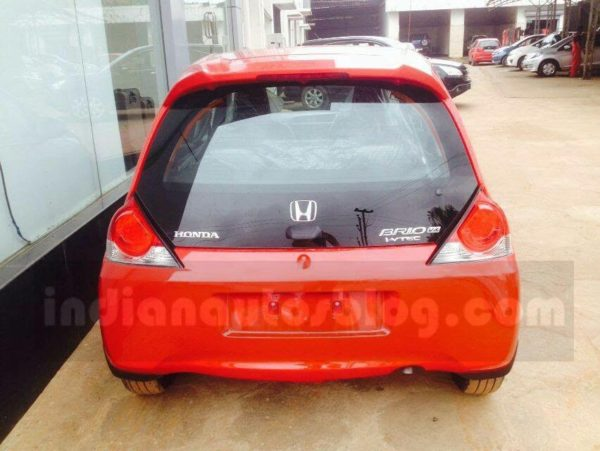 Honda Brio Facelift spotted at dealership rear
