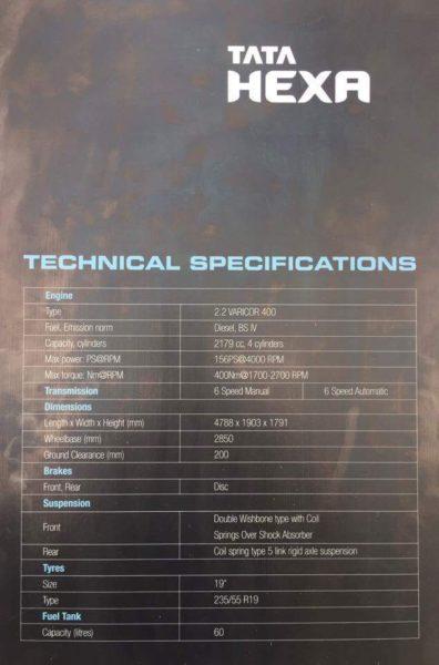Hexa technical specs