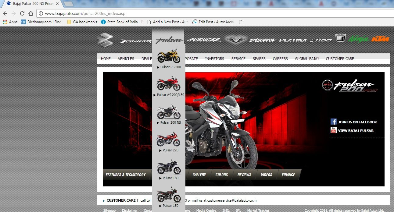 Bajaj Pulsar NS 200 listed on company website -