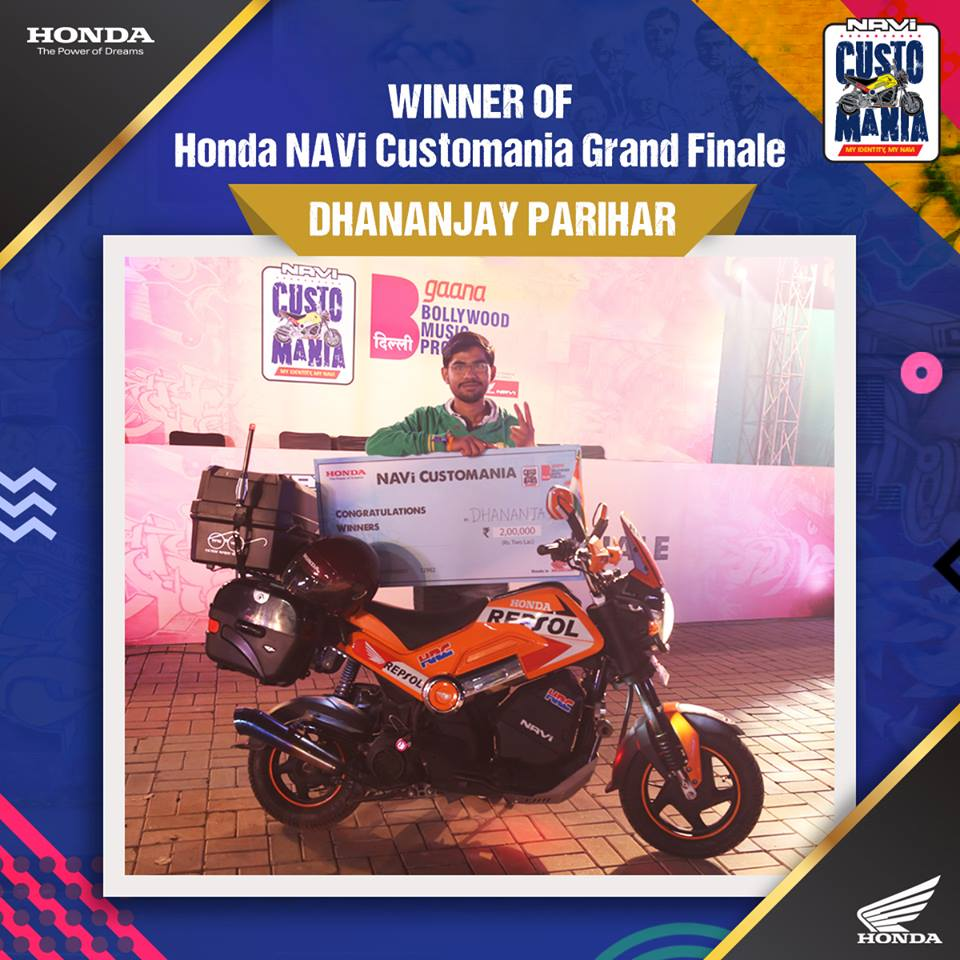 HondaNAVi #Customania! winner Dhananjay Parihar